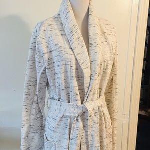 White Burnout Duster Cardigan Long Knit Sweater M